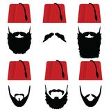 Man head with fez set illustration. On white Royalty Free Stock Photography