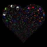 Man Head Fireworks Heart. Man Head fireworks with heart shape. Vector illustration style is flat bright multicolored iconic symbols on a black background. Object Stock Photography