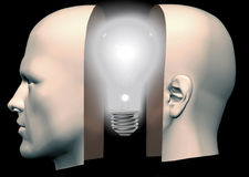 Man Head Front & Back Thinking Lightbulb Stock Photo