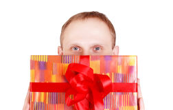 Man head with gift box Royalty Free Stock Photos