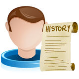 Man Head with History Old Paper Royalty Free Stock Photo