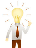 Man with head idea lightbulb Royalty Free Stock Photography