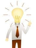 Man with head idea lightbulb Royalty Free Stock Photography