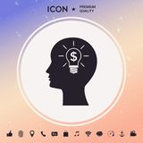 Man silhouette - Light bulb with dollar symbol business concept. Icon. Man head with Light bulb with dollar symbol business concept Royalty Free Stock Image