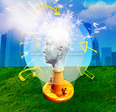 Man with the head of marble. Light bulb with head and urban background Royalty Free Stock Photos