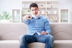 Man with a head neck spine trauma wearing a neck brace cervical Royalty Free Stock Photos