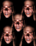 Man Head Pain 2. A image of a set of men in terrible expressive pain, possible having a migraine Stock Photo