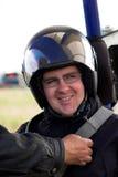 Man in head-piece. In paraglide Stock Photos