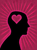 Man head silhouette. With heart symbol inside Stock Images
