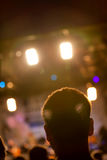 Man head silhouette with concert lights Stock Image