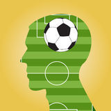 Man head silhouette with a soccer ball Royalty Free Stock Image
