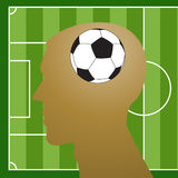 Man head silhouette with a soccer ball Royalty Free Stock Images