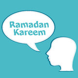 Man head with speech bubbles with Ramadan Kareem word on it Stock Photo
