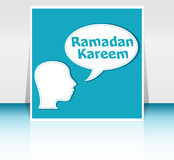 Man head with speech bubbles with Ramadan Kareem word on it Royalty Free Stock Images