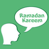 Man head with speech bubbles with Ramadan Kareem word on it Royalty Free Stock Photo