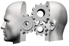 Man Head Thinking idea Gears Face Royalty Free Stock Photography