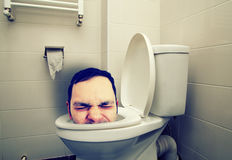 Man head in toilet Stock Photo