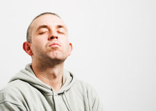 Man with head up and eyes closed Stock Photo