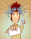 Man with headache. Man with headache and medicament in hand Royalty Free Stock Photos