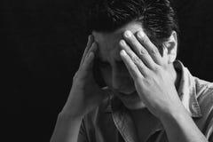Man with headache stock photography