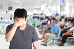 Man headache at hospital royalty free stock photography