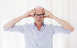 Man with a headache royalty free stock photography