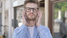 Man with Headache Standing Outdoor. The Man with Headache Standing Outdoor, high quality stock video footage
