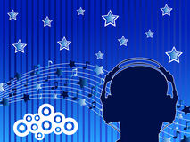 Man with headphone. Man listening music with headphone. Vector illustration Royalty Free Stock Photos