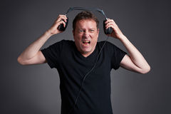 Man with a headphone Stock Photos