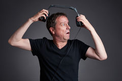 Man with a headphone Royalty Free Stock Photos
