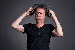 Man with a headphone Royalty Free Stock Photo