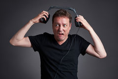 Man with a headphone Royalty Free Stock Image