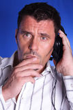 Man with headphones. Listens music Royalty Free Stock Image
