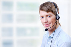 Man in headphones Stock Image
