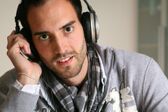 Man headphones Stock Images