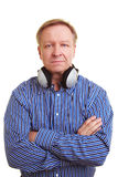 Man with headphones around his neck Stock Photo