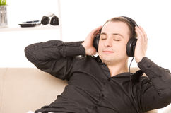 Man in headphones Stock Photos