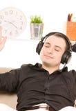 Man in headphones Stock Photo
