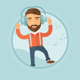 Man in headphones dancing vector illustration. Royalty Free Stock Photos