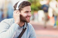 Man with headphones Stock Photos
