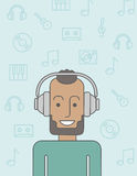 Man in headphones Stock Photo