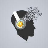 Man with headphones. Head of the person with the notes. Vector Stock Photo