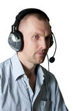 Man with headphones isolated Royalty Free Stock Photo