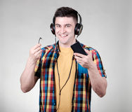 Man with headphones jack Royalty Free Stock Photography