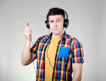 Man with headphones jack Royalty Free Stock Photos