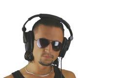 The man in headphones stock video
