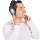 Man in headphones listening music Royalty Free Stock Image