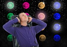 Man with headphones listening to music. Image of a  man with headphones listening to music Royalty Free Stock Photos