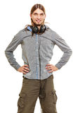 Man with headphones listening to music. Leisure. Stock Image