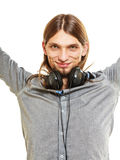 Man with headphones listening to music. Leisure. Royalty Free Stock Image